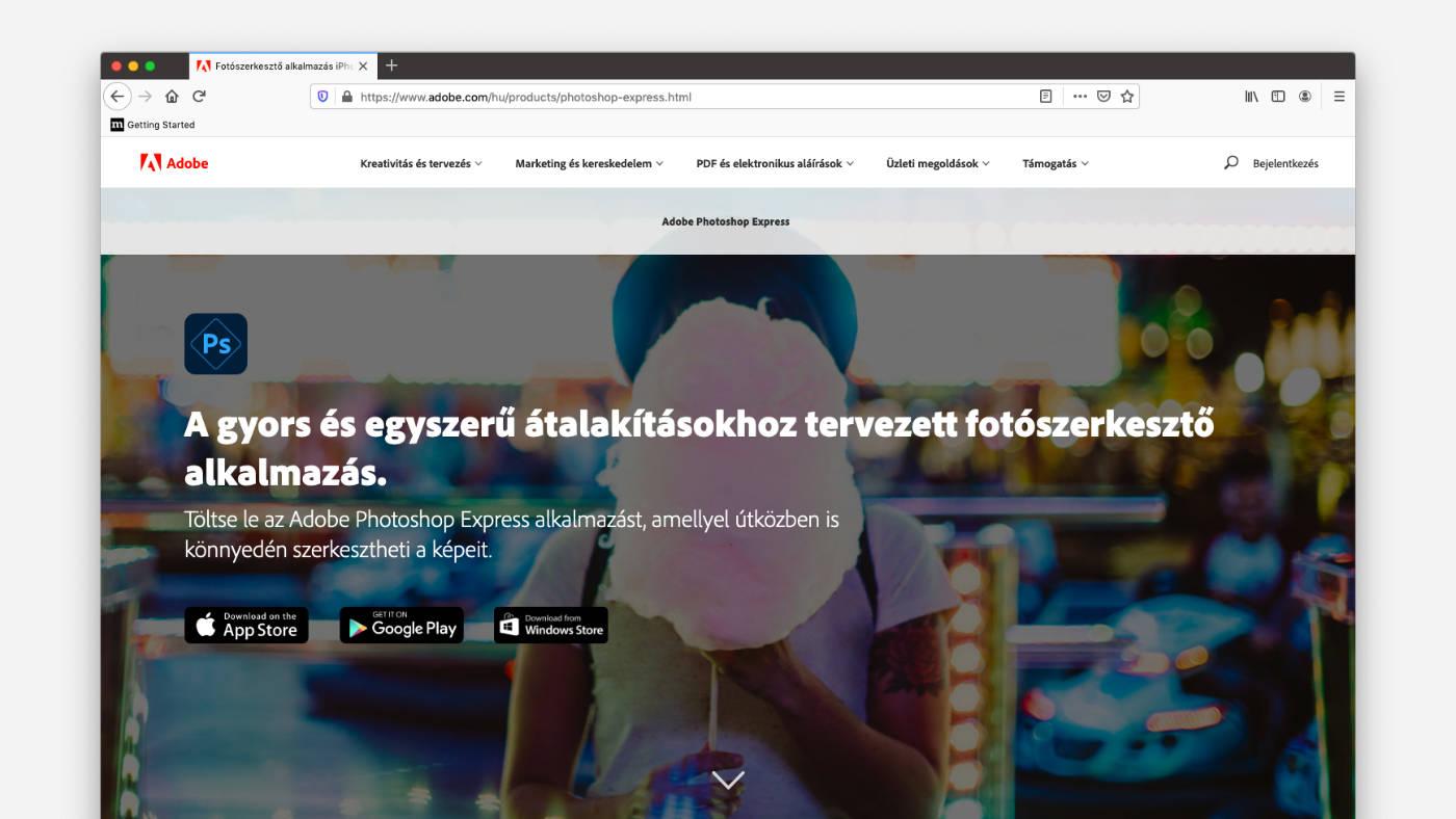 Adobe Photoshop Express ingyenes online képszerkesztő program