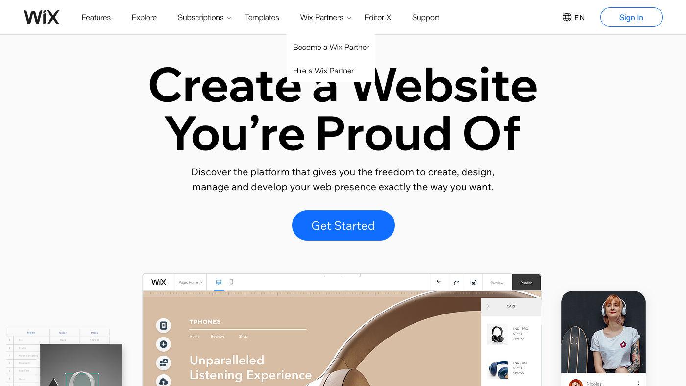 Wix weboldal készítés