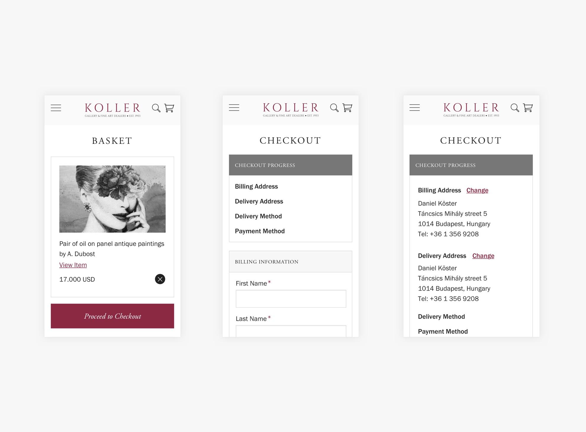 Koller Galéria - Reszponzív webáruház - Üzleti reszponzív webáruház készítés